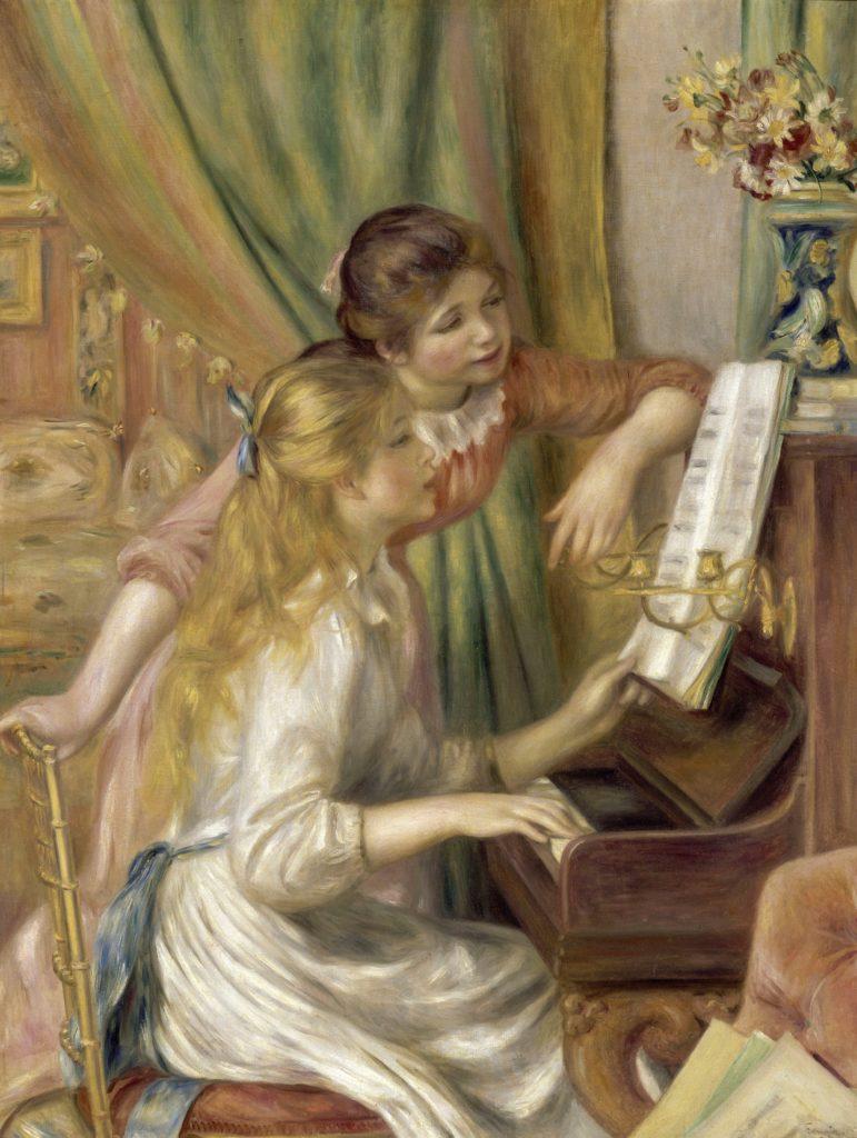 ルノワールのピアノに向かう娘たち