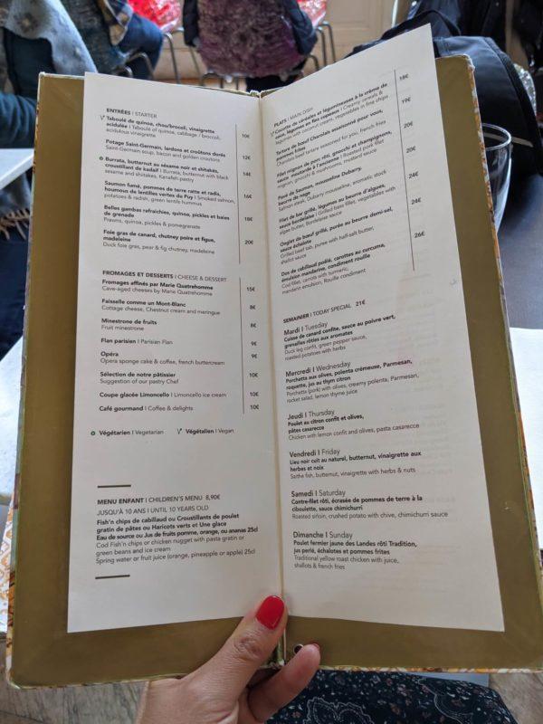 レストラン デュ ミュゼ ドルセーのメニュー