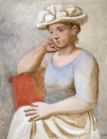ピカソ《白い帽子の女Femme au chapeau blanc》