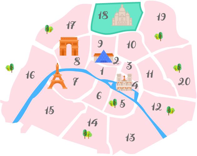 パリ18区の地図