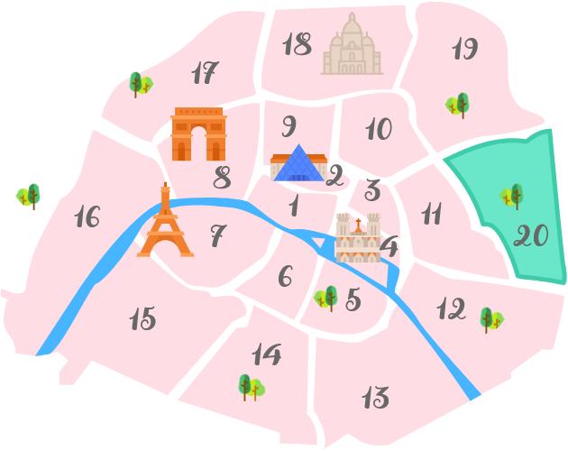 パリ20区の地図