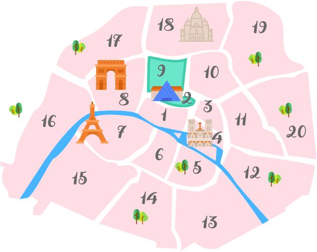 パリ2区、9区の地図