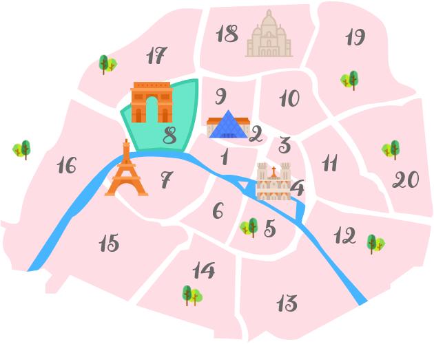 パリ8区の地図