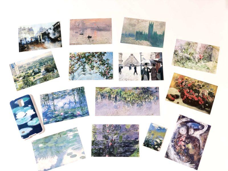 マルモッタンモネ美術館のお土産の絵葉書(ポストカード)とマグネットとスマホケース