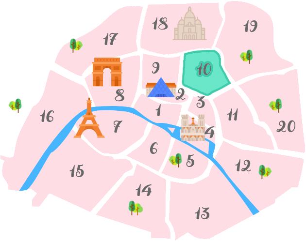 パリ10区の地図