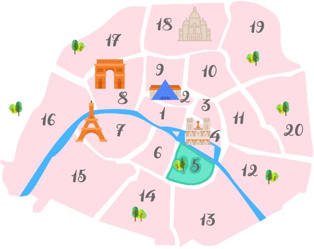 パリ5区の地図