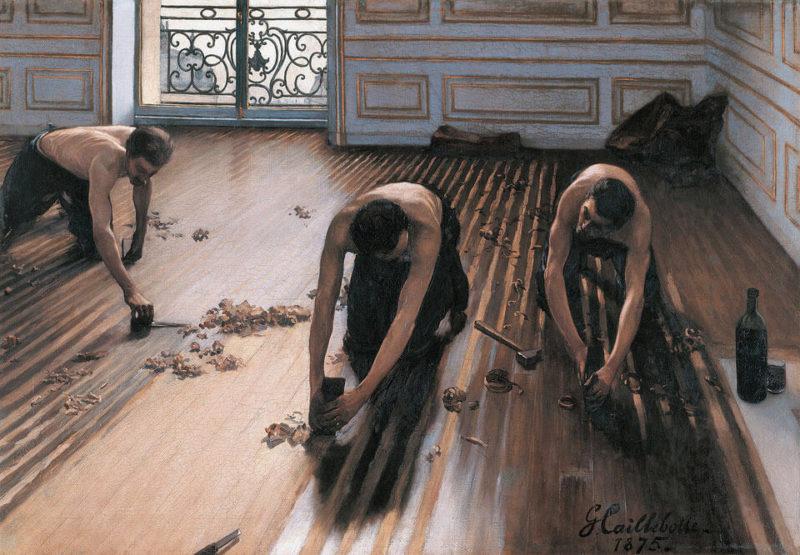 カイユボット《床の鉋かけ Les Raboteurs de parquet》 オルセー美術館