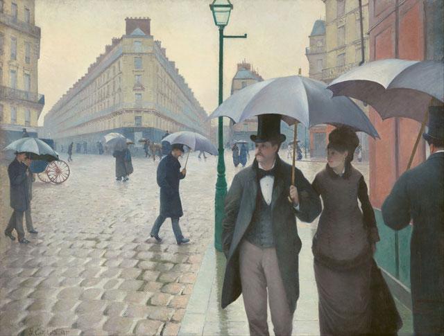 カイユボット《パリの通り、雨 Rue de Paris, temps de pluie》シカゴ美術館