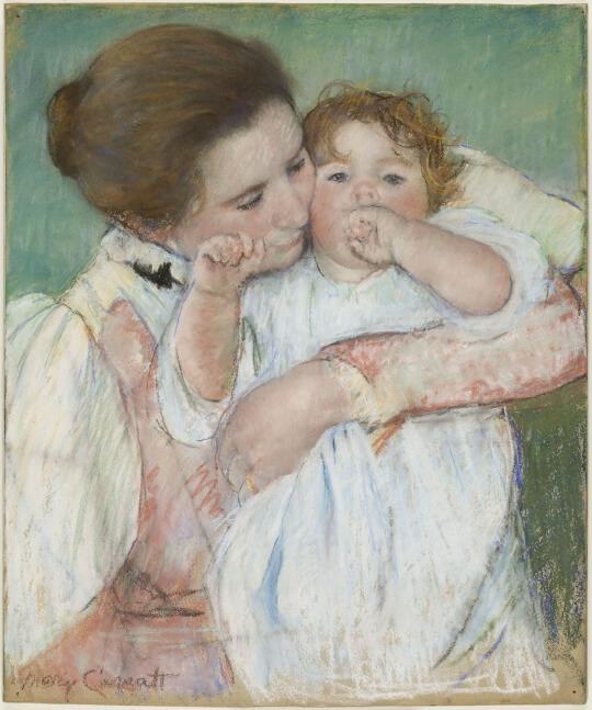 メアリー・カサット《母と子(指をしゃぶるアン)Mère et enfant sur fond vert》オルセー美術館