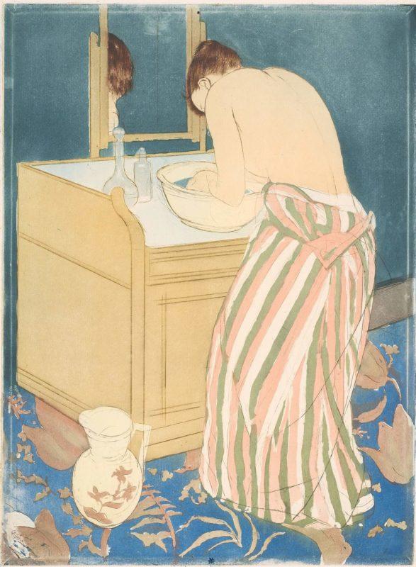 メアリー・カサット《沐浴する女性 Woman Bathing》シカゴ美術館等