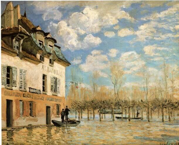 シスレー《ポール=マルリの洪水と小船 Überschwemmung von Port-Marly》オルセー美術館