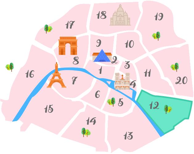 パリ12区の地図