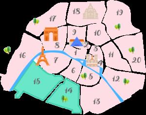 パリ14区15区の地図