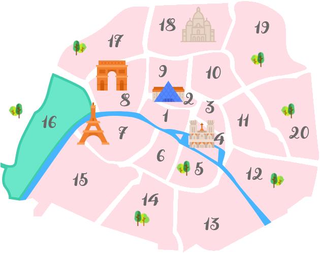パリ16区の地図