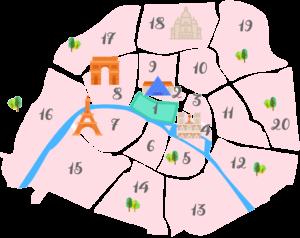 パリ1区の地図