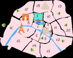 パリ2区9区の地図