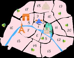 パリ3区4区の地図