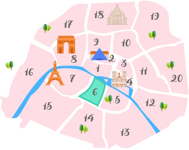 パリ6区の地図